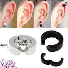 Multi Colour 1 Pair Stainless Steel Non-Piercing Punk Clip On Hoop Cool Earrings