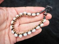 Authentic Vintage Black Cord w/Gold Beads & Freshwater Pearl BOHO Bracelet