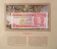 Most Treasured Banknotes Barbados 1973 1 Dollar UNC P 29a Prefix F