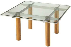 COCKTAIL TABLE MODERN CONTEMPORARY SQUARE BUTLER LOFT SATIN ALUMINUM CLEAR