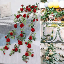5.9ft Artificial Flower Garland Faux Silk Rose Vines Wreath DIY Wedding Decor
