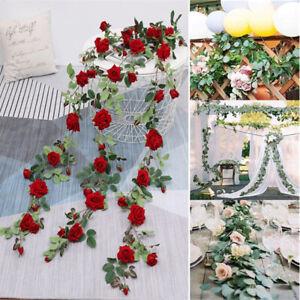 5.9ft Artificial Flower Garland Faux Silk Rose Vines Wreath DIY Wedding Decor