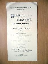 1914 Manchester Mendelssohn Glee Society ANNUAL CONCERT Programme-ST.JOHN SCHOOL