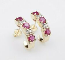 Classic 14k Yellow Gold 2ct Natural Ruby Diamond J Hook Earrings Huggie EG1471