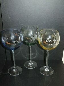 NICE LENOX SET OF THREE (3) BUTTERFLY MEADOW COLORED BALLOON WINE GLASSES, 8 3/4