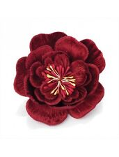 Stunning Large Deep Red Crushed Velvet Hair Flower on Hair Clip
