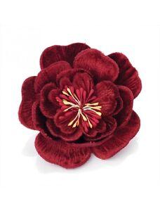 Stunning Large Deep Red Crushed Velvet Hair Flower on Hair Clip