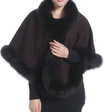 Cashmere Shawl Cape Wrap Scarf with Fox Fur Trim Brown New Real