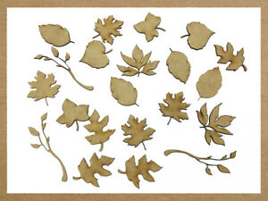 21x Wooden MDF Leaf Shape Branches Tree Branch Autumn Crafting Craft Decoration