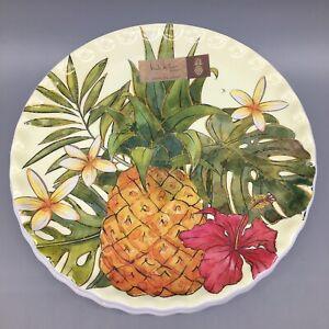"4 Nicole Miller MELAMINE Salad Plate Set Pineapple Tropical Plumeria Hibiscus 9"""