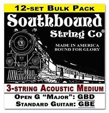 12-pack Cigar Box Guitar String Sets: 3-string Acoustic Med. Open G/Std 34-01-02