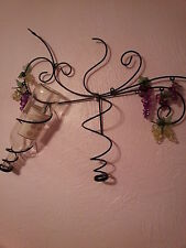 Mothers Day Decorative Wine Bottle Holder Acrylic Grape Clusters Black Metal