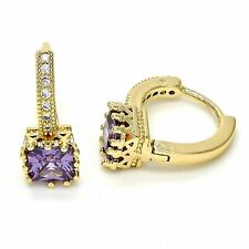 New 9ct Gold Filled Earrings Lever Back  Amethyst  White Micro Pave Stones B95