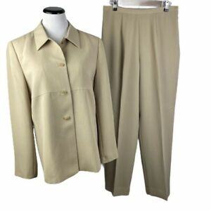 Kasper ASL Women's Size 12 Tan 4 Button Long Sleeve Jacket And Pants Suit