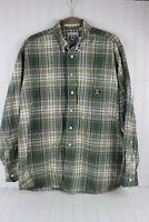 CINCH Large L Plaid Shirt Green Cotton Long Sleeve Button