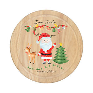 Personalised Wooden Christmas Eve treat Board Santa Father Christmas Plate Tray