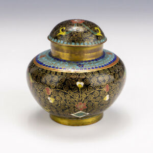 Antique Chinese Cloisonne - Oriental Flower Decorated Enamel Travel Inkwell