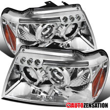 For 1999-2004 Jeep Grand Cherokee Clear LED Halo Rims Projector Headlights Lamps