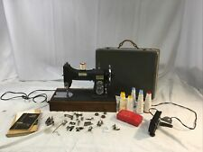 Vintage White Rotary Sewing Machine with Accessories, Manual, Case (77MG-102217)