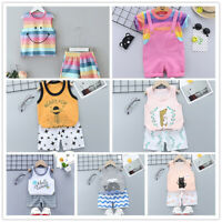 Two Pieces Infant Baby Girls Summer Tank Tops+Shorts Bottoms Outfit Casual Cloth