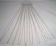 """LOT 10 SILVER Electro-Plate Cable Chain NECKLACES ~ 30"""" Length Lobster clasp end"""
