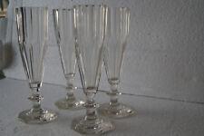4 Original Art Deco geschliffener Sektgläser, Sektflöten, Kristall, Wein Gläser