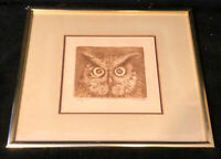 Vintage Owl Pen Ink Drawing Print Signed Framed 88/150 OLSON Wall Art