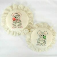 Bundle of 2 Embroidered Pillows His & Her Boy & Girl Whimsical Mouse Lollipops