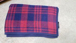 "IBENA Plaid Woven Cotton Blend Reversible Throw Blanket Germany 76""x54"""