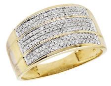 Men's 10K Yellow Gold Three Band Genuine Diamond Wedding Pinky Ring .40ct 12MM