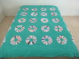 """Vintage HEAVY Feed Sack Applique Hand Quilted DRESDEN PLATE Quilt; 81"""" Sq"""