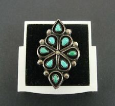 Zuni Vintage Petit Point Turquoise Stones Sterling 925 Silver Size 9 1/2 Ring