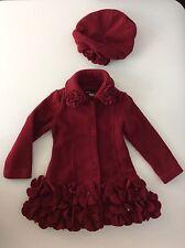 KATE MACK Designer red Maroon 2 Piece Jacket & Hat  Age 3 Years Girls Fleece