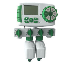 Automatic 4-Zone Irrigation System Garden Water Timer Controller with 2 Valve