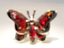 AMAZING Butterfly Ladies RED FIRE Opal Ring Sterling Silver 925 3d Size 10 $225