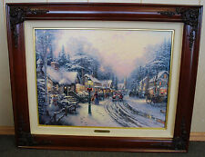 Rare Thomas Kinkade-Village Christmas-MINT Limited Edition Walnut Framed Canvas