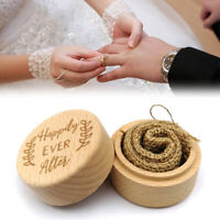 AM_ Wood Beech Ring Box Jewelry Case Storage Container For Wedding Engagement De