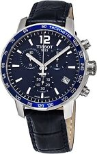 Tissot Men's Quickster Blue Dial Blue Leather Strap Quartz Watch T0954171604700