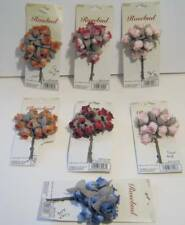 "7 Packs of 1"" Fabric Rosebuds 84 Total Floral Picks Pink Burgundy Mauve Blue Red"