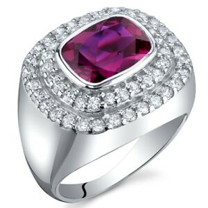 2.75 carat Radiant Cut Created Ruby Gemstone Ring in Sterling Silver