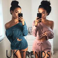 UK Womens 2 Piece Set Off Shoulder Top Ladies Mini Shorts Playsuit Size 6-14
