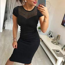 Women Short Sleeve Bodycon Skater Mesh Party Evening Pencil Dress Black one