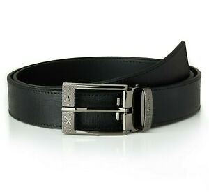Armani Belt Men's New AX Leather Black Belt, One Size Fits All | New With Box