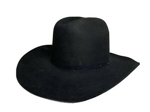 "Vintage Rodeo King Cowboy Western BLACK 4X BEAVER Fur Felt HAT 4"" Brim sz 7 1/2"