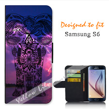 For Samsung Galaxy S6 Wallet Flip Phone Case Cover Elephant White Y00846