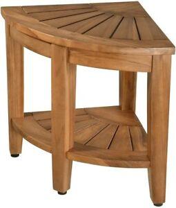 "100% Teak Shower Bench 18"" Corner Spa Seat Stool Bathroom Organizer w/Storage"