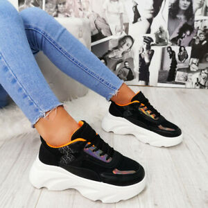 Unbranded WOMENS CHUNKY SNEAKERS LADIES PLATFORM TRAINERS SPORTS FASHION SHOES S