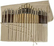 New 24 Piece Paint Brush Set Oil Acrylic Flat Round Canvas Holder Artist Sable