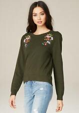 Bebe Women's Green Embroidered Flower Sweater Size M NEW with tag