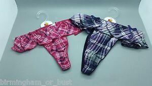 New Cyberjammies Night Time Pink & Purple Check Thongs UK Sizes 8 10 12 14
